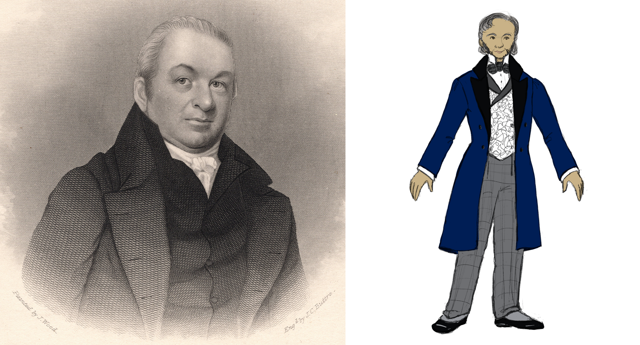 Left, Artist engraving of Azel Backus from 1813. Right, Costume Design Sketch of Azel Backus