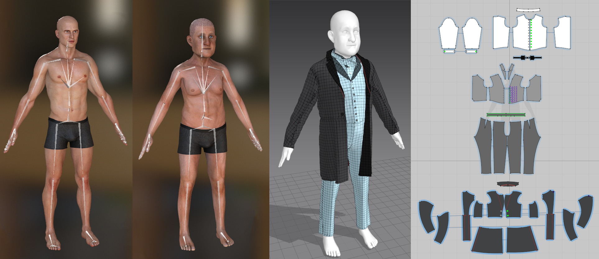 Left, 3D model of exxagerated body propotions. Right, 3D model next to 2D patterns of costume garments.