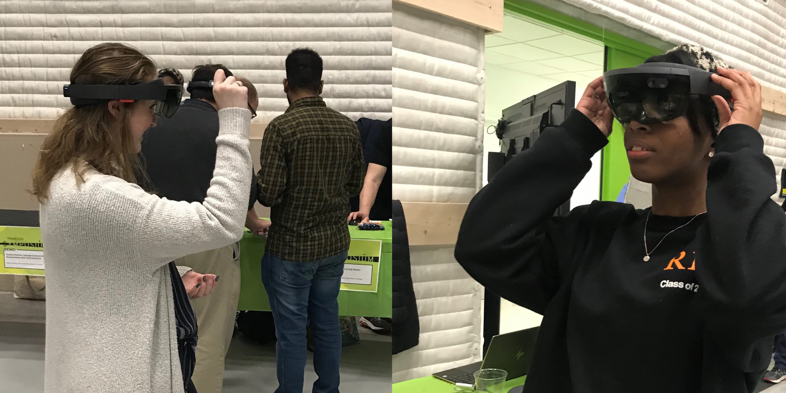 Left, Student learning navigation on HoloLens. Right, Student adjusting HoloLens head straps.