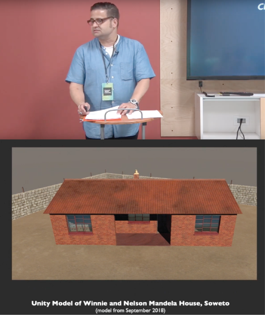 Two image composite. Top image is of Angel Nieves standing behind a podium delivering his keynote speech. Bottom is a slide showing a Unity 3D model of Winnie and Nelson Mandela House, in Soweto South Africa (generated September 2018).