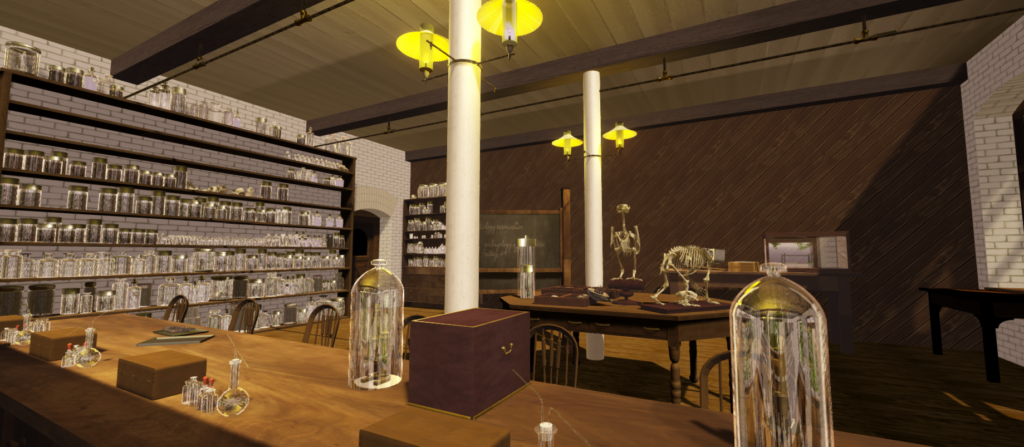 3D rendering of a biology lab created for the Bryn Mawr Women in Science Project. Rendering contains depictions of glassware, scientific artifacts, equipment, and laboratory furniture.