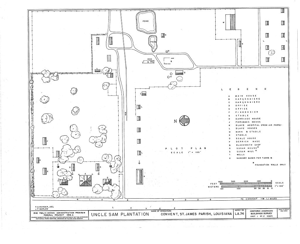 Plot plan of the Uncle Sam Plantation made by the Historic American Buildings Survey (HABS) in 1940.