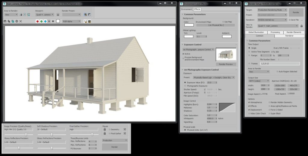 The 3ds Max interface showing a high quality render of a double-pen slave cabin.