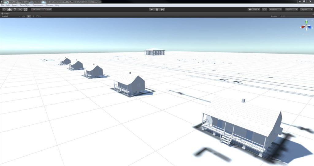 The Unity interface showing models of the double-pen slave cabin and the plantation mansion.