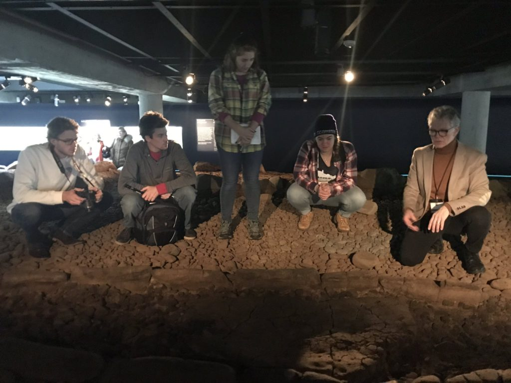 Grinnell College students conducting site-based research at the Reykjavik City Museum, Iceland.