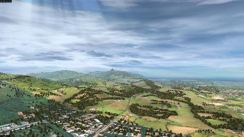 Aerial view of 3D model of the hilly landscape south of Bologna