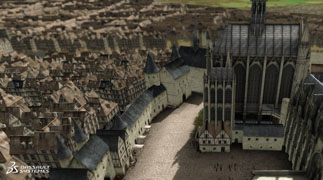 Aerial view of 3D model of the Grande Cour and Trésor de Chartres in Paris