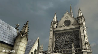 View of 3D model of the rose window on the west façade of Notre Dame Cathedral in Paris