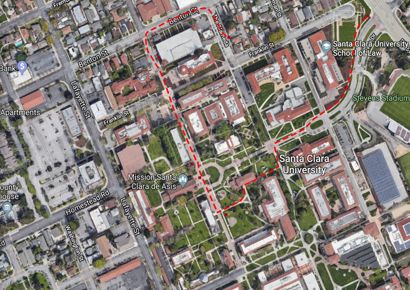 Map of Santa Clara University campus marked with red tour route.
