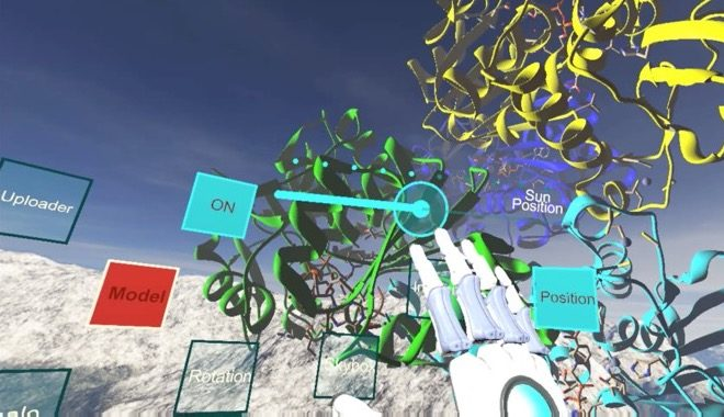 "Screen capture from computer-generated virtual reality software showing the user's virtual hand reaching for controls in a simulated space. In the middle of the screen are multi-colored, three-dimensional models of spiraling biochemical proteins and floating controls with various labels ""uploader, ON, Sun Position, Model, Position, Rotation, Skybox."""