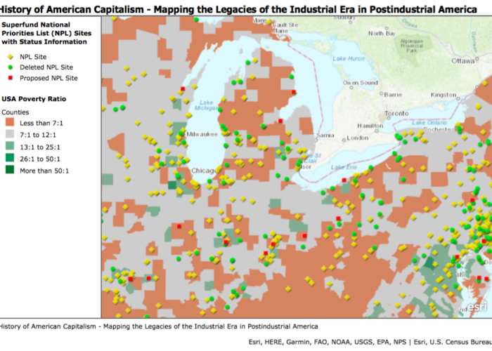 "A map titled ""History of American Capitalism"", which shows superfund sites and the poverty ratio in sections of Michigan and Illinois."