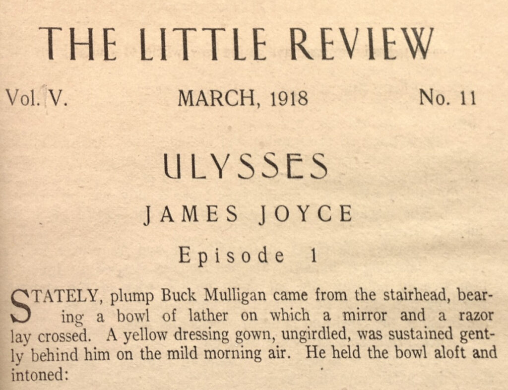 The opening header of the first episode of Ulysses in The Little Review, volume 5, number 11, March 1918.