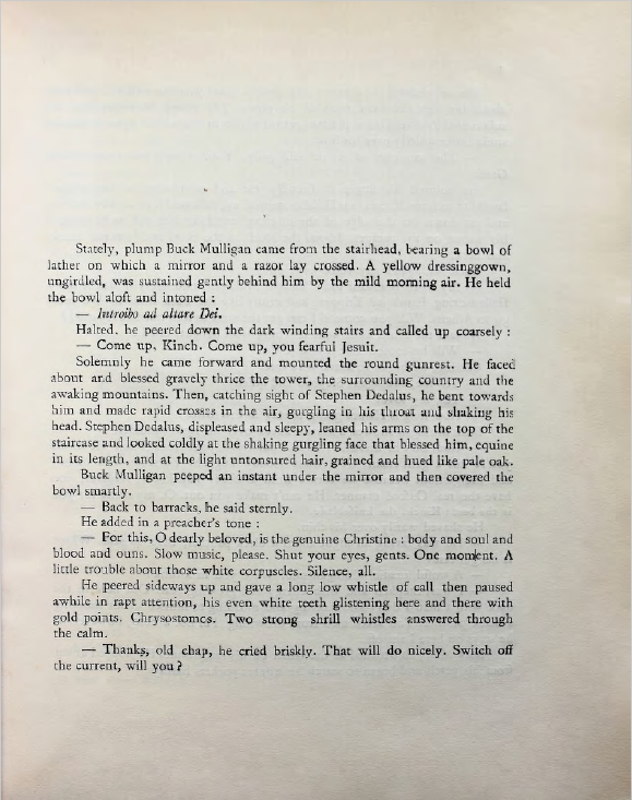 The beginning of the first episode in the Shakespeare and Company edition, showing no numbering or other header above the text.