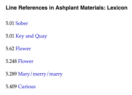 A screenshot of an index of line references from Ashplant, showing a machine-generated list of references from Episode Five of Ulysses.