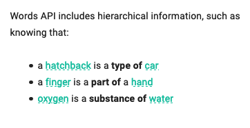 A screenshot from the 'About' section of Words API describing the hierarchical relations of certain terms, such as 'a hatchback is a type of car'.