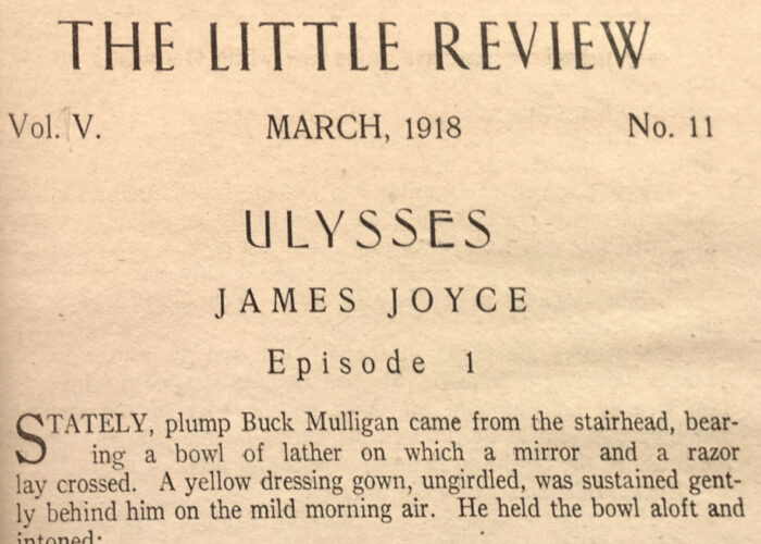 The opening header of the first episode of Ulysses in The Little Review (photograph by the author from the copy in the Special Collections and Archives of Grinnell College).