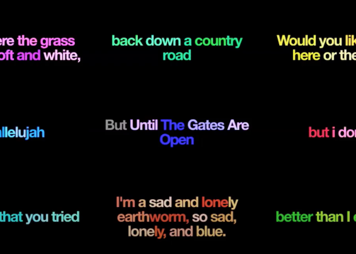 A three-by-three grid of fragments of poems, with syllables appearing in different colors.