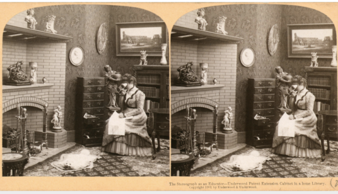 A sepia-toned stereoscopic image from the turn of the twentieth century depicts a woman in a drawing room, herself looking into a stereoscope.
