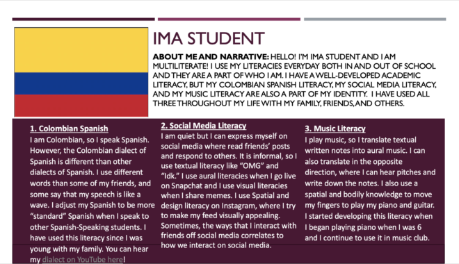 Composite profile for 'Ima Student.' The profile starts with an introduction and an image of the Colombian flag in the top third of the profile. In the bottom section, the profile has numbered three literacies with three headings. The first heading is Colombian Spanish and, it includes a link to a YouTube video demonstrating the literacy. The profile also includes descriptions about Ima Student's social media literacy and their music literacy.
