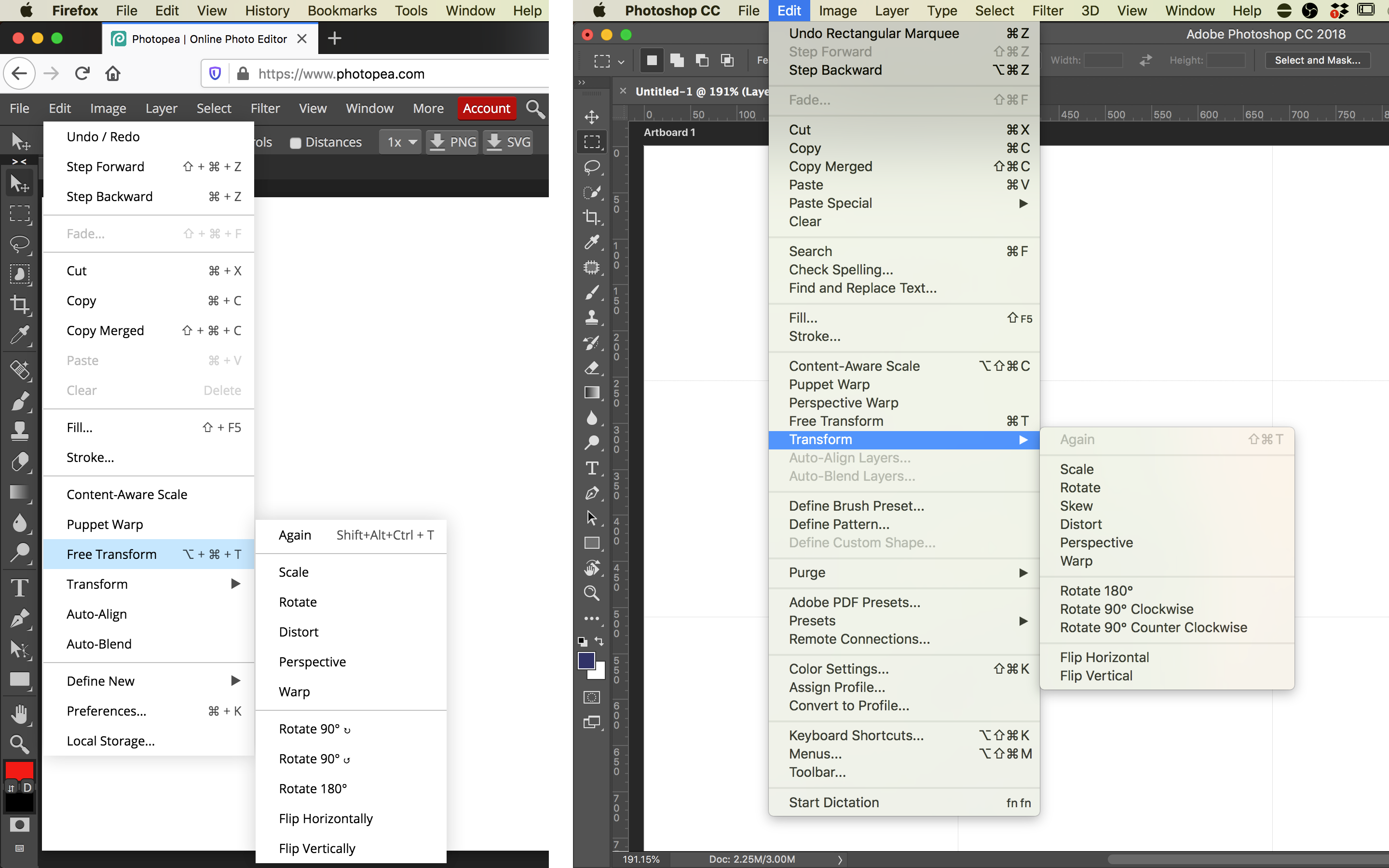 Two side-by-side screenshots of the Photopea and Adobe Photoshop user interfaces, with the mouse cursor hovering over the Transform menu item in the Edit menu; the Transform sub menu is almost identical in both screenshots.