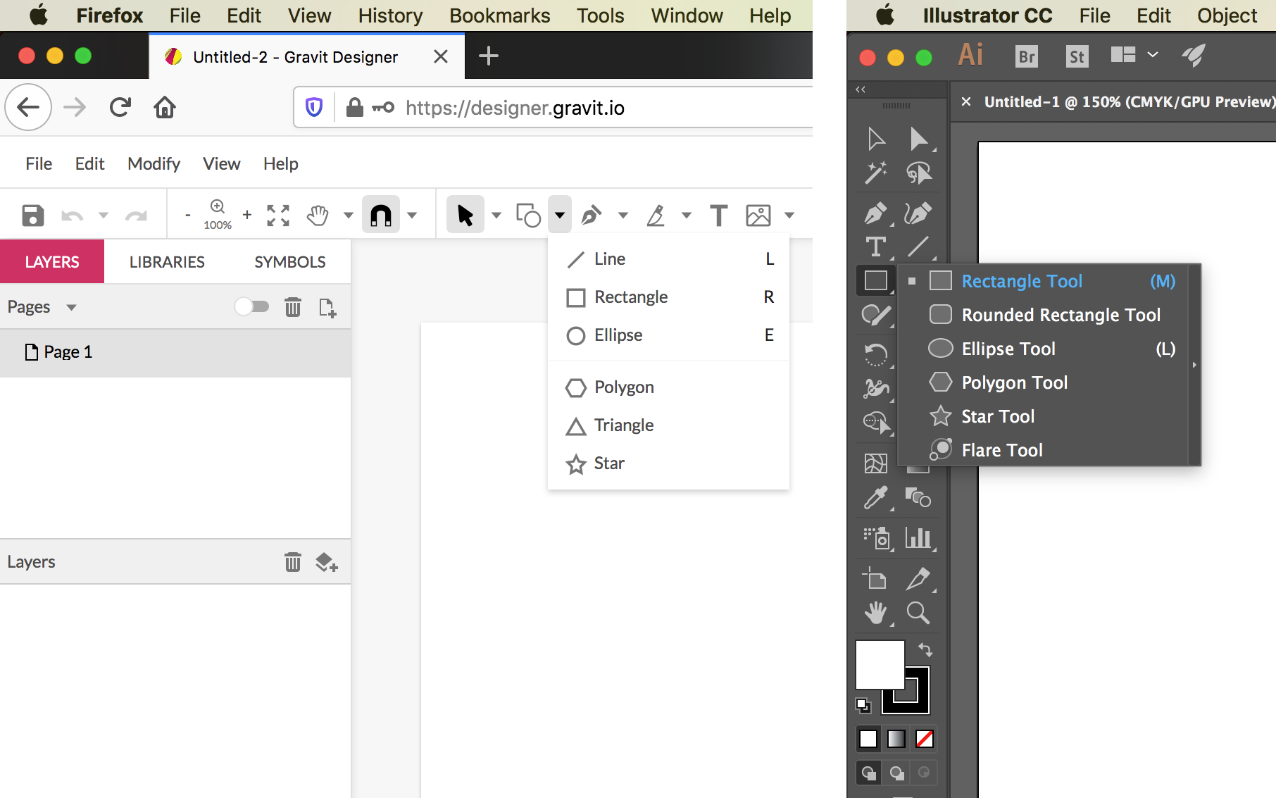 Two side-by-side screenshots of the Designer.io and Adobe Illustrator user interfaces, with the mouse cursor clicking on the Shape Tool, showing the tool options; the tool icon and options are similar, but not identical, and they are located in different areas of the interface.