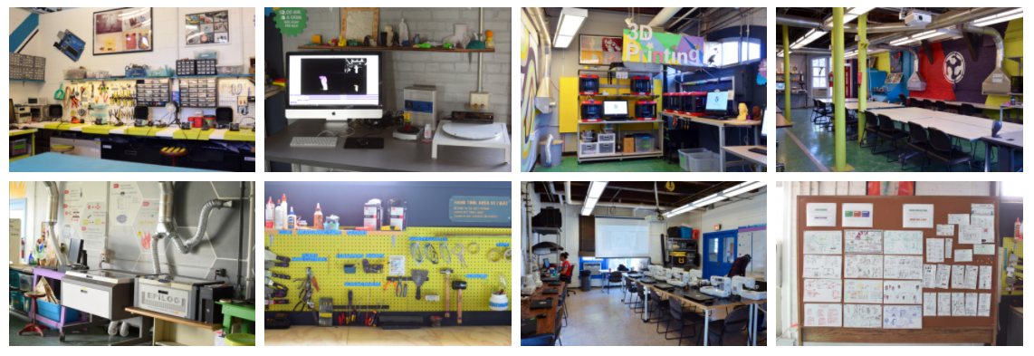 Champaign Urbana Community FabLab, depicted in eight photos, showing the equipment, workstations, bulletin boards, and rooms that make up the makerspace.