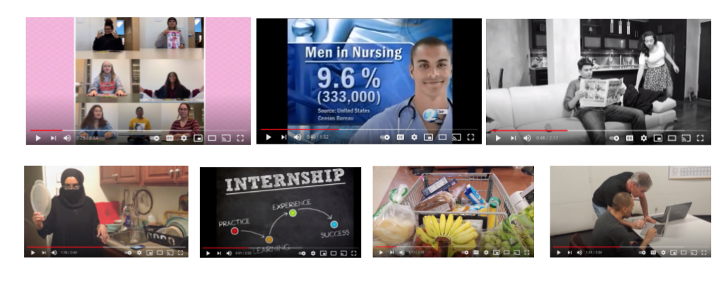 An array of screenshots from YouTube videos of movie essays. One shows women sitting at a table with a copy of Cosmopolitan magazine, the next a picture of a male nurse in front of the statistic: 'Men in nursing, 9.6%, 333,000,' the next a black and white image of a man sitting on a couch reading a newspaper while a woman in a skirt picks up his coat; the bottom row features a mock portrayal of a student's mother wearing a niqab while washing dishes in the kitchen,  a chart labeled 'Experience' with four labeled dots underneath pointing to each other, labeled 'practice,' 'learning,' 'experience,' and 'success,' a shopping cart with produce and groceries inside, and an image of Sean standing near a seated student and they are both looking at a laptop.