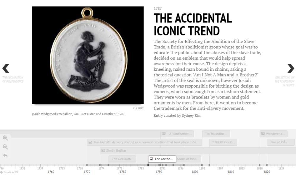 Timeline entry with illustration of Wedgewood medallion of a kneeling slave.