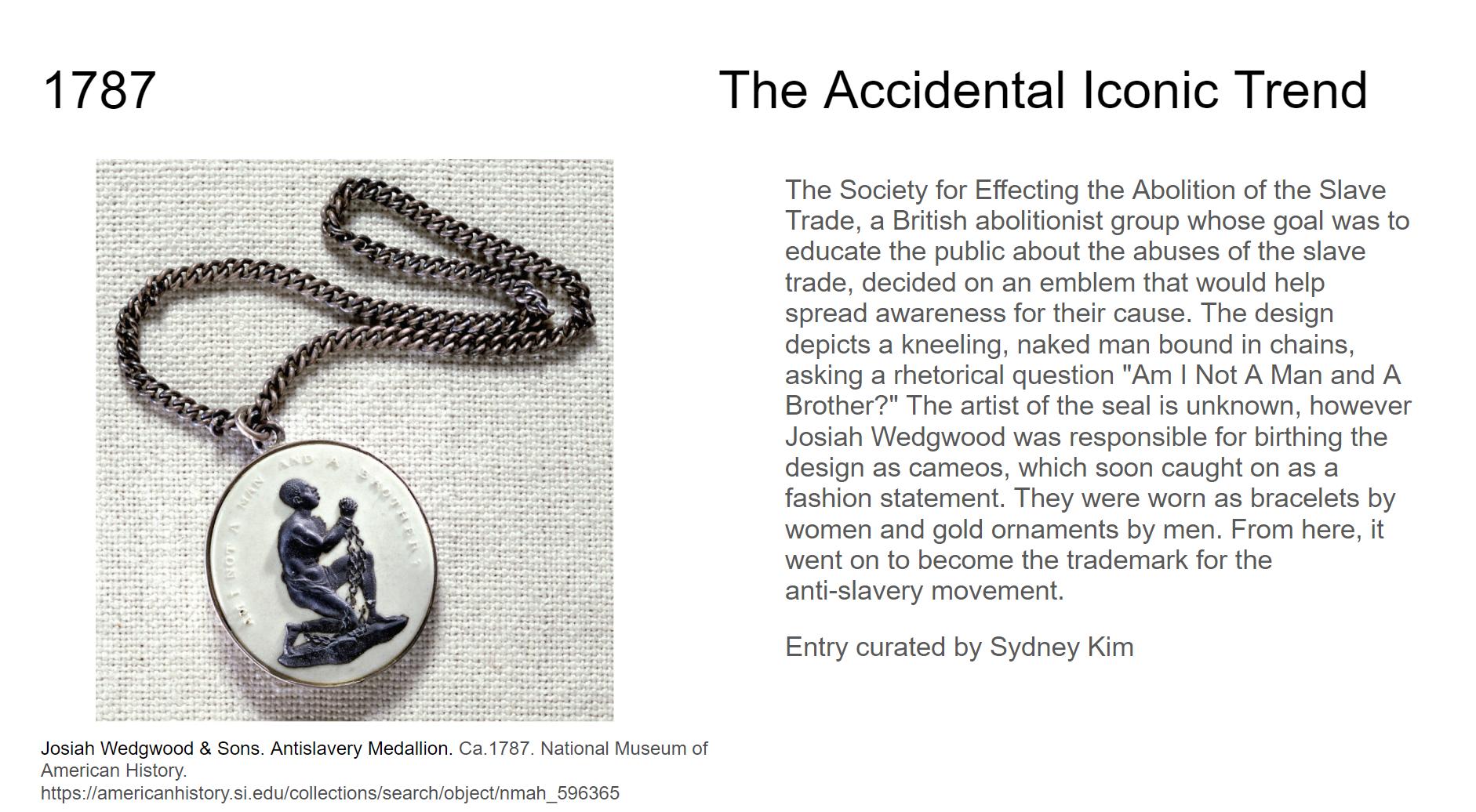 Google Slide mockup with illustration of Wedgewood medallion of a kneeling slave.