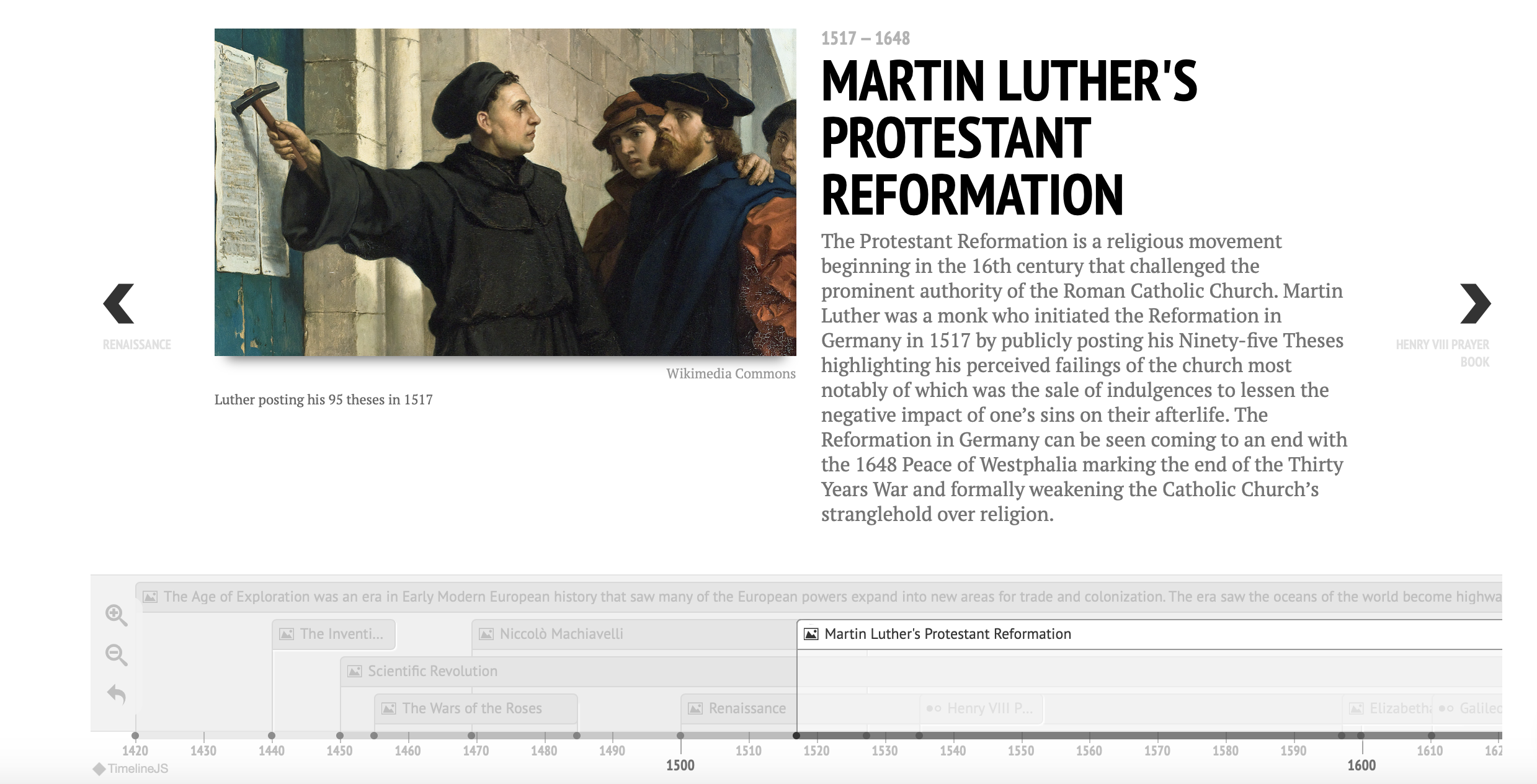 Timeline entry with painting of Martin Luther nailing edicts to a church door.