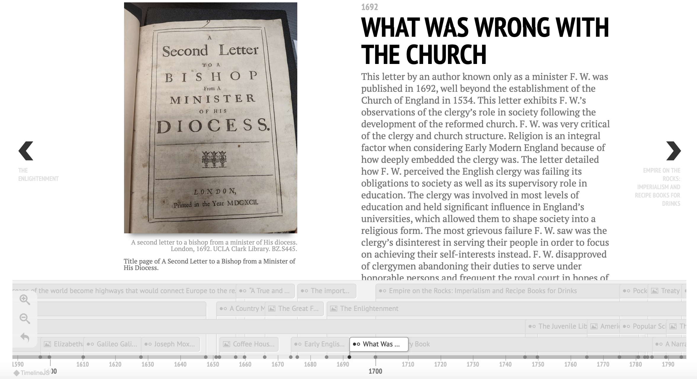 Timeline entry with image of title page of A Second Letter to a Bishop from a Minister of His Diocese.
