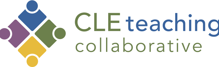 Logo for CLE teaching collaborative, featuring four squares with circles that resemble students or teachers, themselves arranged facing each other in a square.