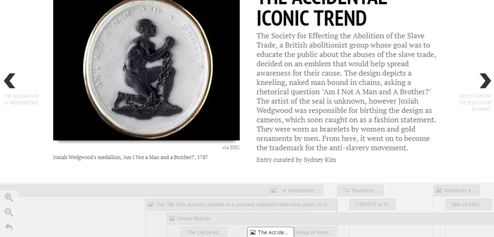 A slide demonstrates TimelineJS used in a history classroom, with the header 'The Accidental Iconic Trend'.