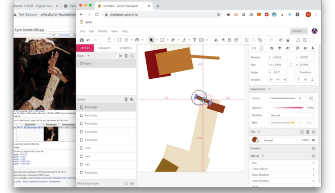 Screenshot of Mac OS computer interface, with an image of an Egon Schiele painting in a small window at the left, and a larger Gravit Designer window with a composition of rectangles based on the painting.