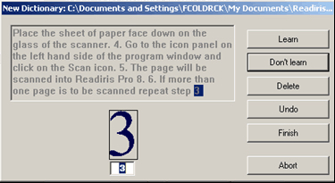 A dialog box after scanning a page of English text, with the numeral 3 highlighted. Buttons at the right provide options for the user to Learn, Don't Learn, Delete, Undo, Finish or Abort the recognition of that character as a 3.