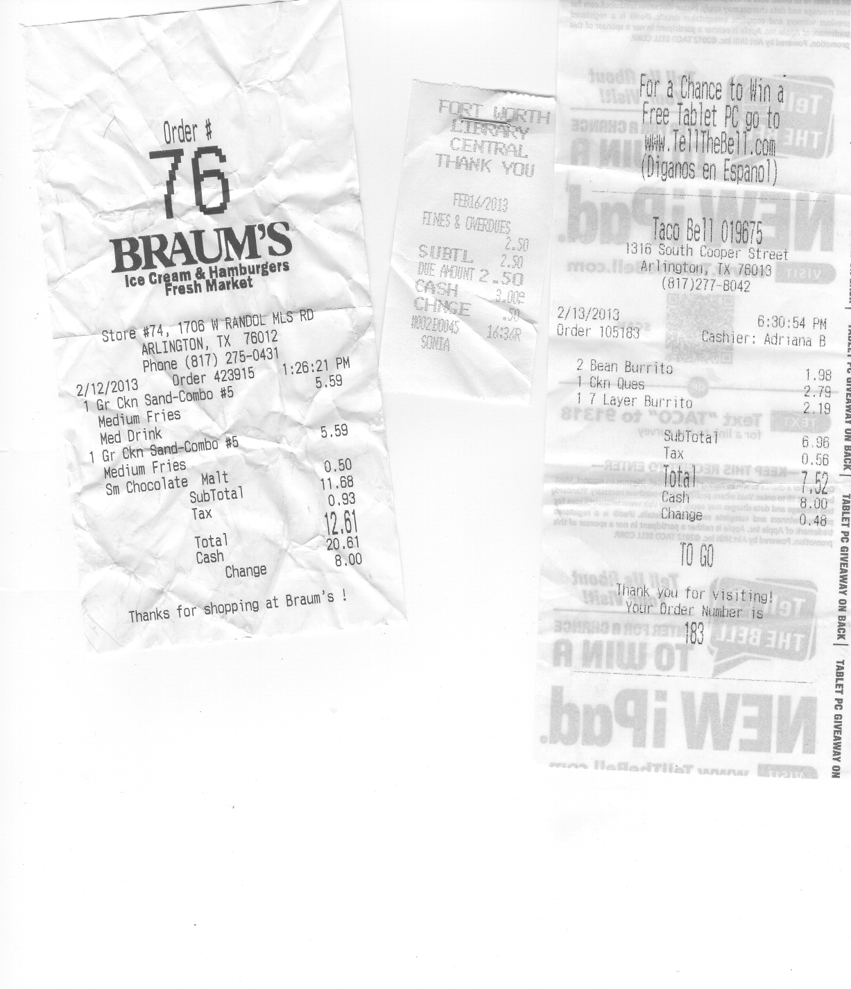A photocopy of three crumpled receipts. Left: Receipt from Braum's Ice cream and Hamburgers Fresh Market. Center: Stapled receipt from the Fort Worth Public library. Right: Taco Bell receipt with faded images of large-font text from the back of the receipt showing through.