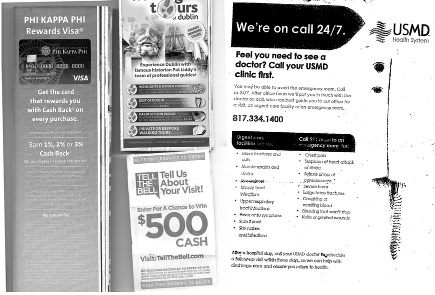 A photocopy of four advertisements. Clockwise from left: Ad for a Phi Kappa Phi rewards card, showing a visa credit card. Ad for guided tour of Dublin with images of historic figures. Flyer for a 24/7 on-call USMD health clinic, with two columns of text on the lower half. Link to a survey offering a chance to win $500 cash by reporting on ones visit to Taco Bell.