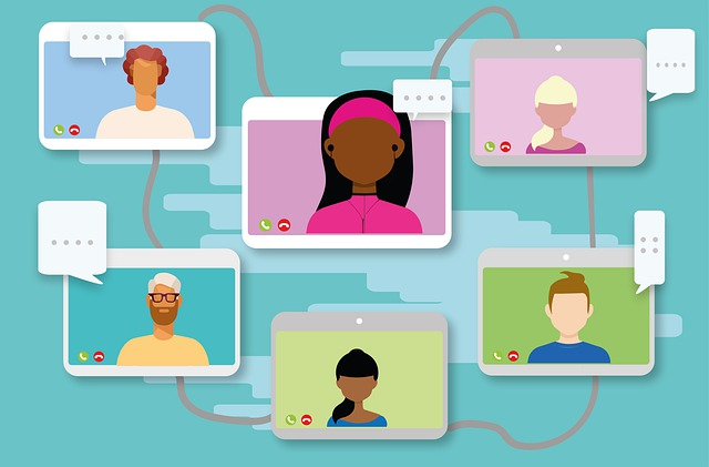 A cartoon shows a stylized set of videoconference windows featuring different people, connected by wires between each panel.