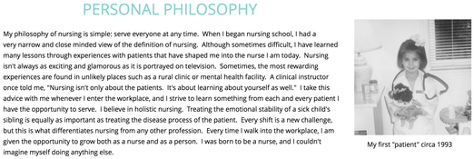nursing student reflective writing example